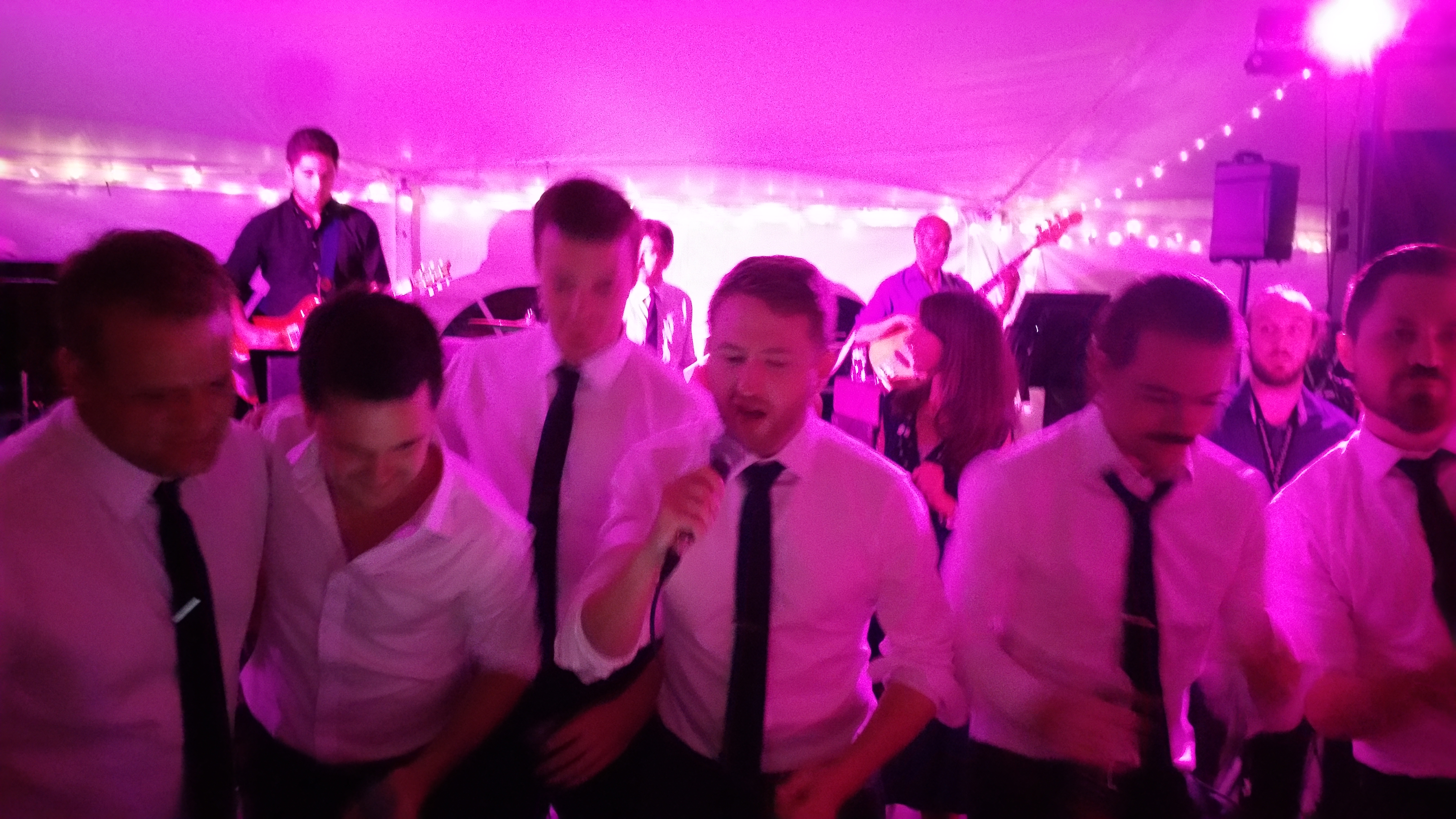 Groom and Groomsmen Sing with the Band
